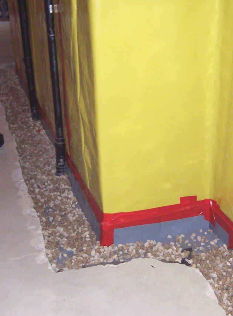 Interior drain tile before concrete repoured
