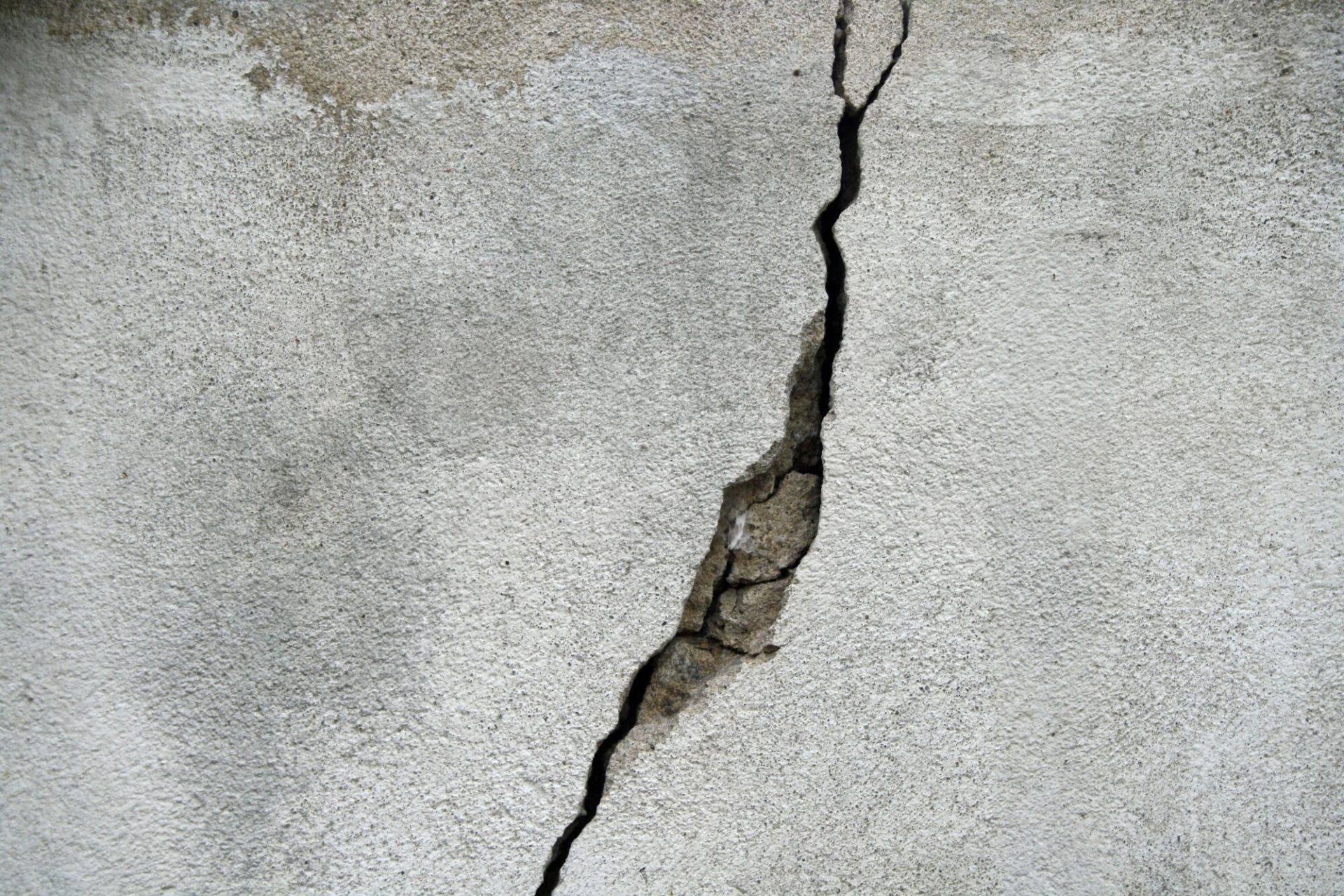 big crack in concrete slab
