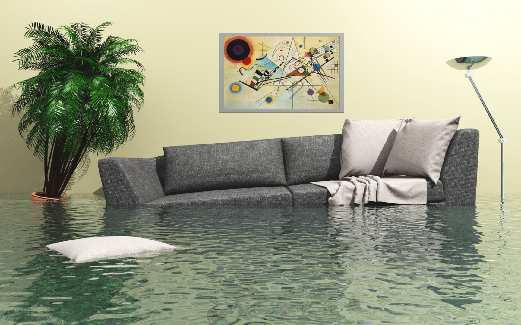 couch in a very flooded house