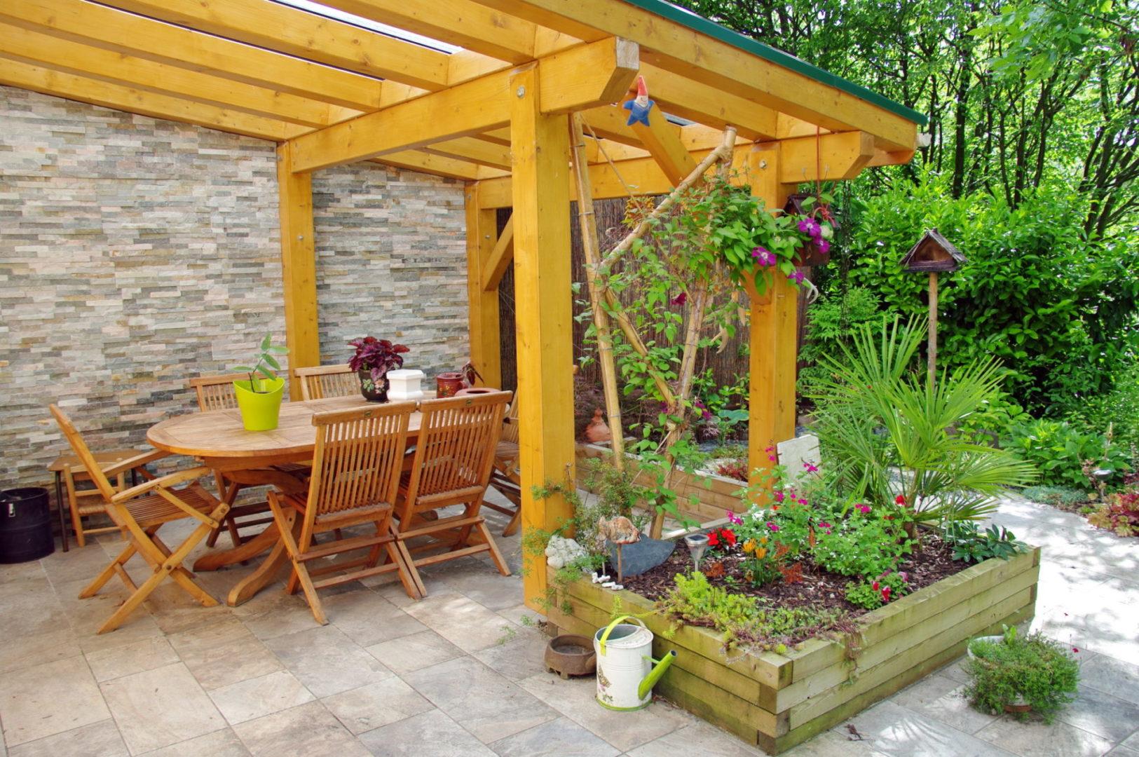 terrace over an outdoor patio
